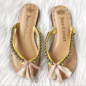 Juicy Couture brown/yellow leather sandals